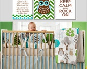 Twinkle Twinkle Little Star Boy Nursery Art Trio - Chevron Owl, Keep Calm and Rock On - Set of Three 8x10 Prints - CHOOSE YOUR COLORS