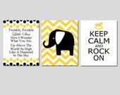 Twinkle Twinkle Little Star Nursery Art Trio - Set of Three 11x14 Prints - Chevron Elephant, Keep Calm and Rock On - CHOOSE YOUR COLORS