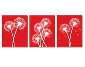 Modern Dandelion Trio - Set of Three Dandelion Floral 8x10 Coordinating Prints - Wall Art - CHOOSE YOUR COLORS - Shown in Red and White