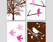 Bird Nursery Art Quad - Set of Four 11x14 Coordinating Prints - Bird in a Tree, Bird on a Branch - CHOOSE YOUR COLORS