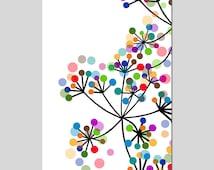 Modern Colorful Botanical - 11x17 Large Print - Original Design - Dots, Floral, Geometric