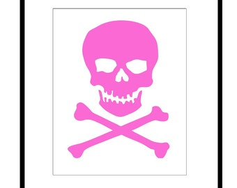 Skull and Crossbones - 8x10 Silhouette Print - Goth, Trendy, Teen, Fun - CHOOSE YOUR COLORS - Shown in Hot Pink, Cool Blue, Gray and More