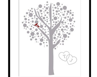 Love Tree Dot Customizable With Your Initials - 8x10 Print - Choose Your Colors - GREAT WEDDING GIFT