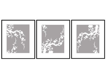Modern Cherry Blossom Trio - Set of Three Floral 5x7 Coordinating Prints - Nursery Art - CHOOSE YOUR COLORS - Shown in Dark Gray and White