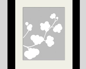 Clover Whimsy - 8x10 Botanical Floral Nature Silhouette Print - CHOOSE YOUR COLORS - Shown in Pale Gray and White