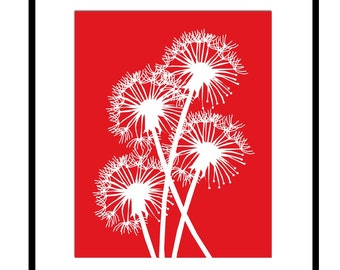 Dandelion Group - 8x10 Floral Print - Modern, Whimsical, Happy - Flowers - Choose Your Colors - Shown in Red, Aqua, Green and More