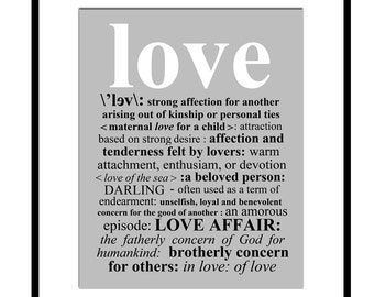 LOVE DEFINITION - 8x10 Print with Typed Definition of Love - Choose Your Colors