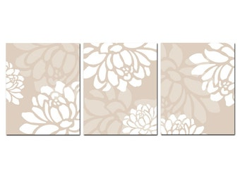 Large Scale Floral Trio - Set of Three 8x10 Coordinating Floral Art Prints - CHOOSE YOUR COLORS - Shown in White and Neutral Taupe Beige