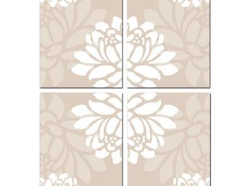 Large Scale Floral Kaleidoscope Quad - Wall Art - Set of Four Original 8x10 Coordinating Floral Prints - Choose Your Colors