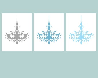 Modern Chandelier Art Trio - Set of Three Coordinating 11x14 Prints - Choose Your Colors - Shown in Medleys of Gray, Blue, and More