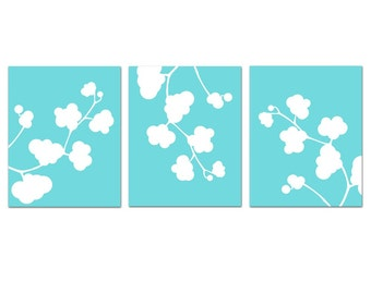 Modern Nursery Art - Clover Whimsy Trio - Set of Three Floral 8x10 Coordinating Prints - CHOOSE YOUR COLORS
