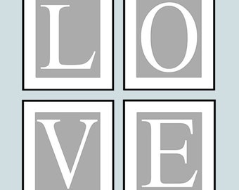 LOVE Quad - Set of Four Coordinating 8x10 Prints - Kids Wall Art for Nursery - CHOOSE Your COLORS - Shown in Gray and White
