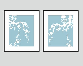 Modern Cherry Blossom Duo - Set of Two Floral 8x10 Coordinating Prints - CHOOSE YOUR COLORS - Shown in Cool Blue and White