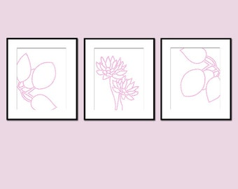 Baby Girl Nursery Art Floral Flower Nature Trio - Set of Three 8x10 Prints - Choose Your Colors - Shown in Pink and White