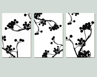 Modern Botanical Trio - Set of Three Large 11x17 Coordinating Nature Inspired Graphic Prints - Choose Your Colors - Shown in Black and White