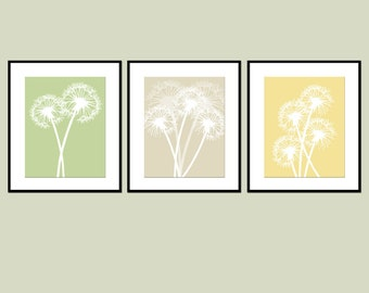 Dandelion Trio - Set of Three Coordinating Dandelion Floral 11x14 Prints - Modern Floral Art - CHOOSE YOUR COLORS