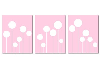 Girl Nursery Art Decor - Modern Lollipop Trio - Set of Three Playful 8x10 Prints - CHOOSE YOUR COLORS - Shown in Light Pink and White