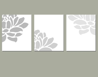 Flower Wall Art - Floral Trio - Set of Three Coordinating 8x10 Prints - Light to Dark Fade - Choose Your Colors - Shown in Gray