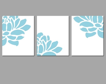 Floral Art Trio - Set of Three Coordinating 8x10 Prints - CHOOSE YOUR COLORS - Shown in Soft Blue, Soft Aqua Green, Red and More