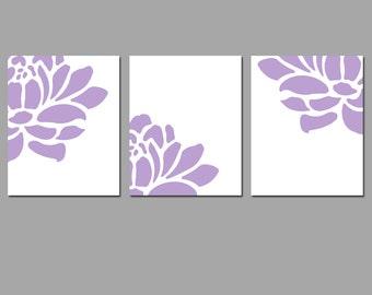 Floral Trio - Set of Three Coordinating 8x10 Prints - Nursery, Bedroom, Bathroom - CHOOSE YOUR COLORS