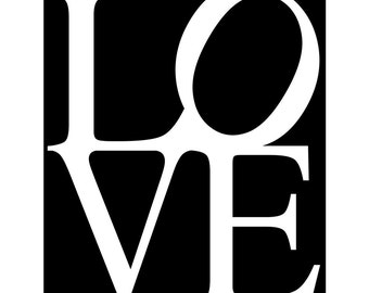 LOVE - 8x10 Typography Print - Nursery, Bathroom, Girl, Teen, Wedding - Wall Art for Home - Choose Your Colors - Shown in Black and White