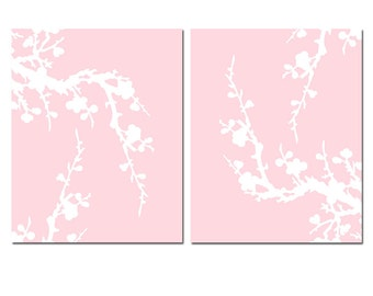 Modern Cherry Blossom Duo - Set of Two Floral 8x10 Coordinating Prints - Nursery Art - CHOOSE YOUR COLORS - Shown in Pale Pink and White