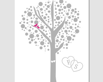 Love Birds Tree Dot - 8x10 Print - Customizable With Initials - GREAT WEDDING GIFT - Choose Your Colors - Shown in Gray, Hot Pink and White