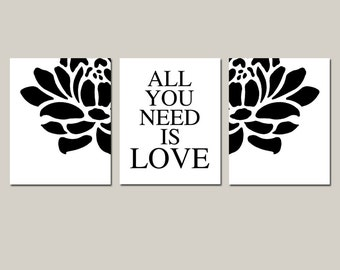 All You Need Is Love - Set of Three Modern Floral Coordinating 8x10 Prints - Wall Art - CHOOSE YOUR COLORS - Shown in Black and White