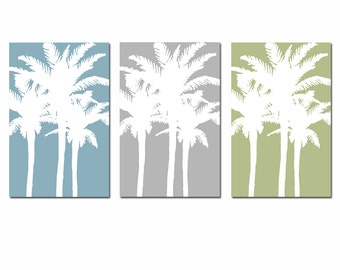 Modern Palm Tree Silhouette Trio - Set of Three Large Scale 11x17 Art Prints - CHOOSE YOUR COLORS