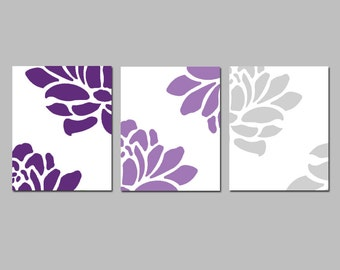 Floral Trio - Set of Three Coordinating 8x10 Prints - CHOOSE YOUR COLORS - Shown in Purple and Gray Medley - Modern Nursery Decor