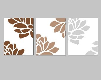 Floral Trio - Set of Three Coordinating 8x10 Prints - CHOOSE YOUR COLORS - Shown in Brown, Light Mocha, and Pale Gray