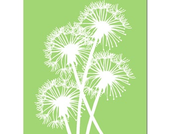 Dandelion Group - 11x14 Nature Inspired Floral Silhouette Print - Modern, Whimsical, Happy - Choose Your Colors - Shown in Apple Green