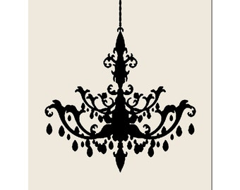 Chandelier - 8x10 Print - Modern Chandelier Silhouette - Wall Art for Home - Decor - CHOOSE YOUR COLORS - Shown in Black and Beige Cream