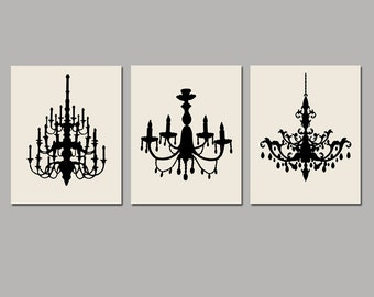 Modern Chandelier Art Trio - Set of Three Coordinating 8x10 Chandelier Prints - CHOOSE YOUR COLORS - Shown in Black and Cream