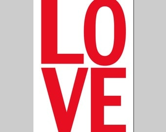 LOVE - 11x17 Large Scale Modern Typography Print - Kids Wall Art - Nursery Decor - CHOOSE Your COLORS - Shown in Red, Yellow, Pink and More
