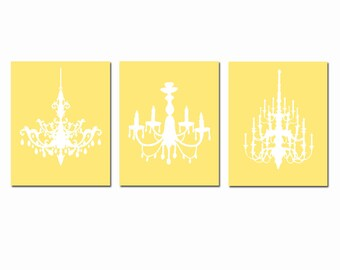 Modern Chandelier Trio - Set of Three Coordinating 8x10 Chandelier Prints - CHOOSE YOUR COLORS - Shown in Soft Yellow and White
