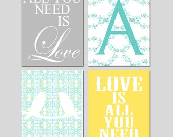 All You Need Is Love, Love Is All You Need, Floral Monogram Initial, Love Birds - Set of Four 11x14 Prints - CHOOSE YOUR COLORS