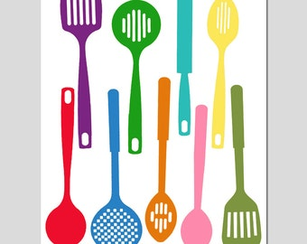 Kitchen Utensils - Spatula Collection - 8x10 Silhouette Print - Art for Kitchen - Colorful, Happy, Bright - CHOOSE YOUR COLORS