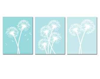 Modern Dandelion Trio - Set of Three 8x10 Coordinating Floral Art Prints - Choose Your Colors - Shown in Aqua Blue Ombre Fade