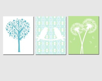 Nursery Trio - Set of Three Coordinating 11x14 Prints - Love Birds, Tree Dot, Dandelion Floral - Kids Wall Art - CHOOSE YOUR COLORS