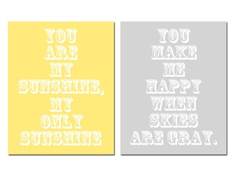 You Are My Sunshine, My Only Sunshine - Set of Two 8x10 Nursery Art Prints - CHOOSE YOUR COLORS - Shown in Soft Yellow, Pale Gray