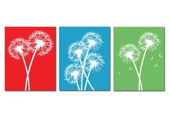 Modern Dandelion Flower Art Trio - Set of Three Dandelion Floral 8x10 Prints - CHOOSE YOUR COLORS