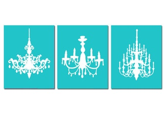 Modern Chandelier Trio - Set of Three Coordinating 8x10 Chandelier Art Prints - CHOOSE YOUR COLORS - Shown in Turquoise and White