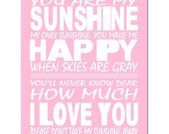 You Are My Sunshine, My Only Sunshine - 8x10 Print - CHOOSE YOUR COLORS - Shown in Light Pink, Soft Yellow, and More - Modern Nursery Decor
