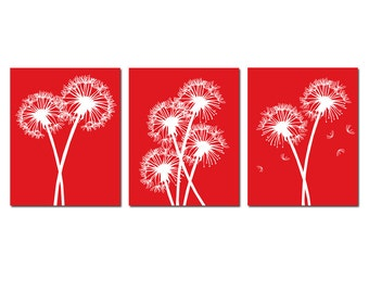 Modern Dandelion Floral Flowers Trio - Set of Three 11x14 Coordinating Prints - CHOOSE YOUR COLORS - Shown in Red and White