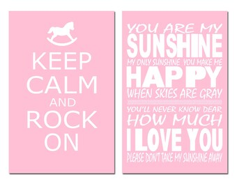 Nursery Art Duo - You Are My Sunshine, Keep Calm and Rock On - Set of Two 13x19 Coordinating Prints - CHOOSE YOUR COLORS
