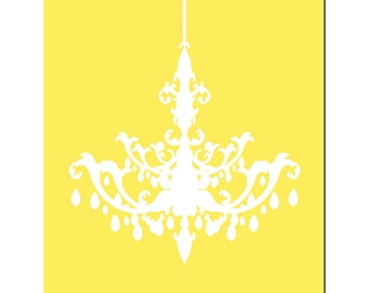 Modern Chandelier Silhouette 8x10 Print - CHOOSE YOUR COLORS - Shown in Lemon Yellow and White