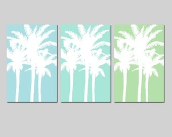 Modern Palm Tree Silhouette Trio - Set of Three Large 13x19 Tropical Beach Prints - CHOOSE YOUR COLORS