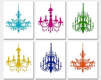 Modern Chandelier Silhouette Art - Set of Six Coordinating 8x10 Prints - CHOOSE YOUR COLORS - Shown in Jewel Tones