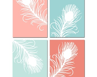 Mint and Coral Decor Mint and Coral Wall Art Peacock Feather Prints for Home Decor - Set of 4 Prints - CHOOSE YOUR COLORS